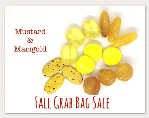 Fall SALE Colored Bead Grab Bag, yellow Beads, Halloween beads, Halloween jewelry, mustard marigold jewelry, October beads clearance