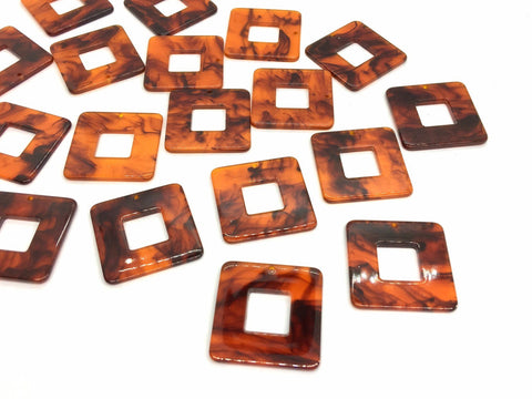 Brown Black Tortoise Shell Acrylic Blanks Cutout, square blanks, earring bead jewelry making, 30mm pierced earring 1 hole earring blanks