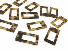 Blonde Tortoise Shell Acrylic Blanks Cutout, rectangle blanks, earring pendant jewelry making, 40mm geometric jewelry 1 Hole necklace tassel