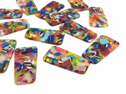 Rainbow Tortoise Shell Acrylic Blanks Cutout, rectangle blanks, earring bead jewelry making, 38mm jewelry, 1 Hole tortoise blanks colorful