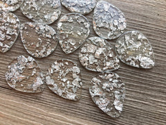 Silver Foil Paper set in Clear Resin Acrylic Blanks Cutout, earring bead jewelry making, 40mm circle jewelry, silver pendant teardrop