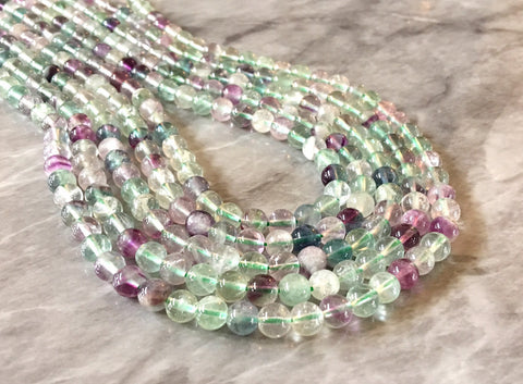 "Clear Purple Green Natural Fluorite Beads Strands, Grade A Round 6mm 15"" strand agate strung beads, glass beads circle long mandala necklace"
