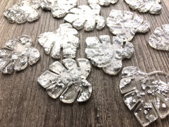 Silver Foil & Clear Resin Acrylic Blanks Cutout, monstera palm leaves leaf blanks, earring pendant jewelry making 31mm circle jewelry 1 hole
