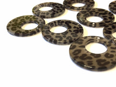 Leopard print Tortoise Shell Acrylic Blanks Cutout, circle round earring pendant jewelry making, 30mm jewelry, 1 Hole earring blanks brown