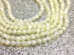 "Cream Natural Sea Shell Beads Strands, Round beads, Ivory beads, 8mm ivory beads, 15"" strand, agate strung beads, off white ivory cream"