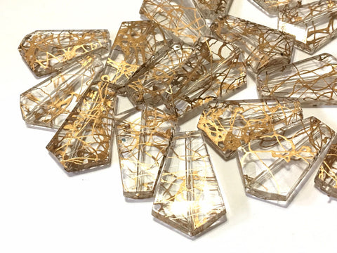 Metallic Gold & clear Acrylic Bead, 35mm bead, Bangle Necklace Earring Jewelry Making Beads, wire bangle, gold beads, gold geometric jewelry
