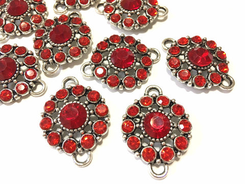 Red Crystal Rhinestone Glass Pendants, Flower Charm 2 holes, bracelet or necklace charm, connector bead, crystal glasss bead, rainbow charms