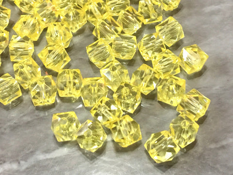 WHOLESALE 10mm Clear & Yellow Cubes set of 100, 10mm beads, clear yellow statement beads, statement necklace, square beads jewelry
