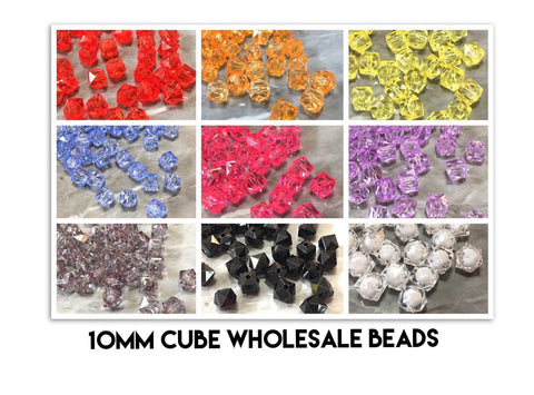 WHOLESALE 10mm Clear & Colorful Cubes set of 100, 10mm beads, clear statement beads, statement necklace, square beads jewelry
