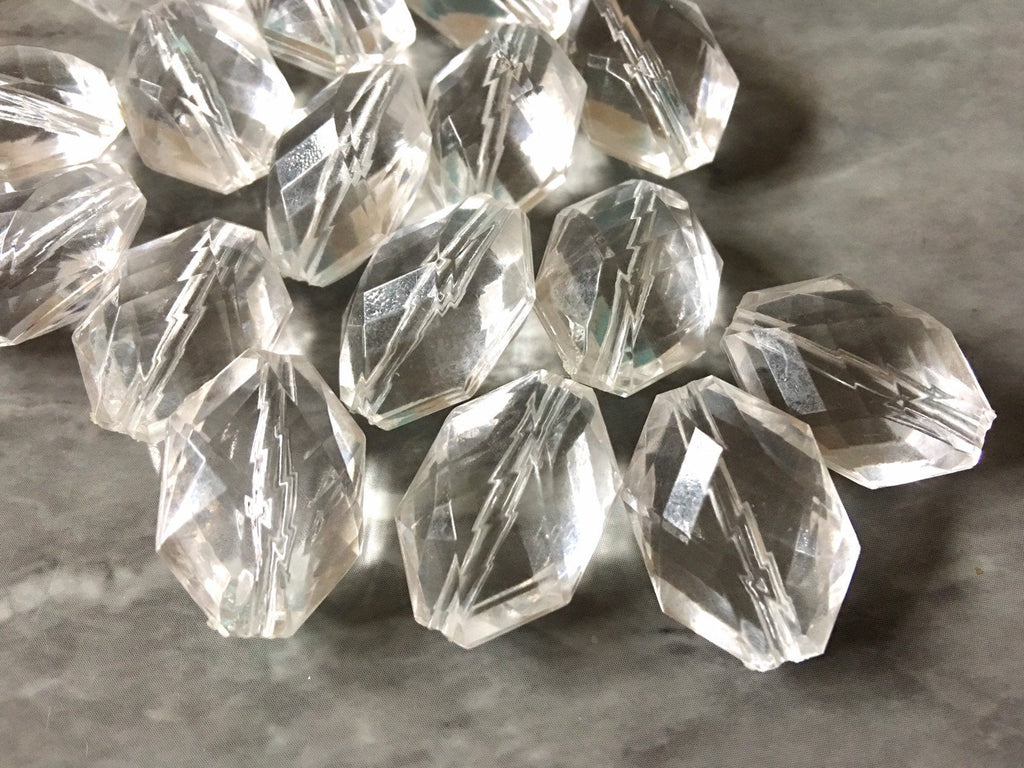 Clear Diamond Twisted Oval Beads, 22mm Translucent Beads for Jewelry Making, faceted resin beads, clear jewelry necklace