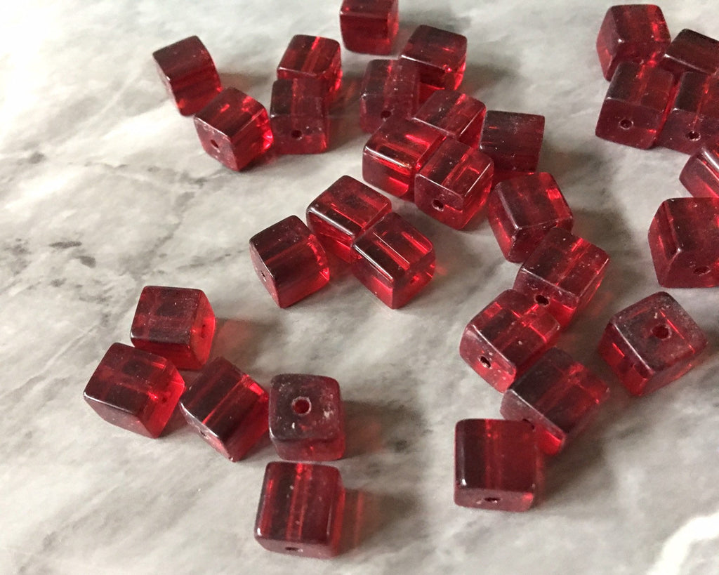 Cube Red Beads Translucent, 8mm Beads, glass square beads, bracelet necklace earrings, jewelry making bangle beads resin red