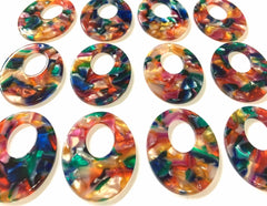 Rainbow Watercolor Tortoise Shell Beads, oval shape acrylic 41mm Long Earring or Necklace pendant bead 1 one hole at top colorful pride