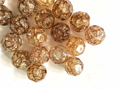 Brown Crackle in Resin 16mm beads, large acrylic ball beads, brown jewery, brown bangle, wire bangle, jewelry making bubblegum beads