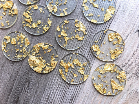 Gold Foil & Clear Resin Acrylic Blanks Cutout, Circle blanks, earring pendant jewelry making, 35mm circle jewelry, 1 Hole circle bangle gold