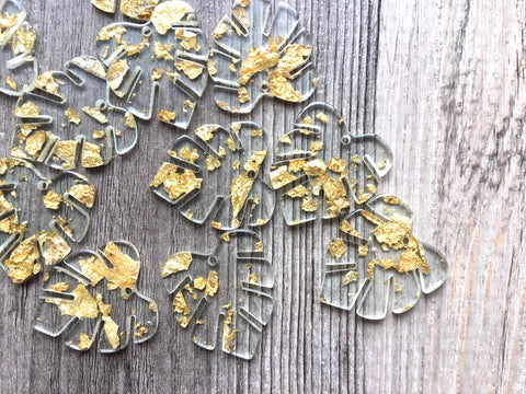 Gold Foil & Clear Resin Acrylic Blanks Cutout, monstera palm leaves leaf blanks, earring pendant jewelry making 31mm circle jewelry 1 hole