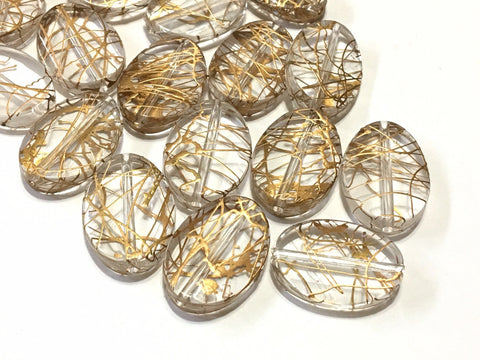 Clear & Gold Resin beads, gold beads Bangle Making, Jewelry Making, 28mm Beads, clear Jewelry necklace, painted jewelry gold clear