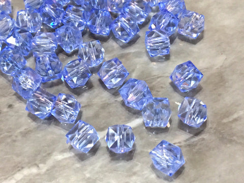 WHOLESALE 10mm Clear & Sky Blue Cubes set of 100, 10mm beads, clear blue statement beads, statement necklace, square beads jewelry