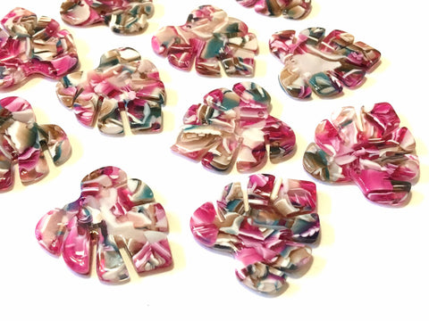 Pink & Brown Resin Acrylic Blanks Cutout, monstera palm leaves leaf blanks, earring pendant jewelry making 31mm circle jewelry 1 hole