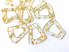 Gold Foil Paper set in Clear Resin Acrylic Blanks Cutout, earring bead jewelry making, 40mm trapezoid jewelry, gold pendant teardrop