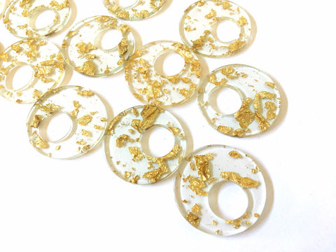 Gold Foil Paper set in Clear Resin Acrylic Blanks Cutout, earring bead jewelry making, 35mm round jewelry, gold pendant circle
