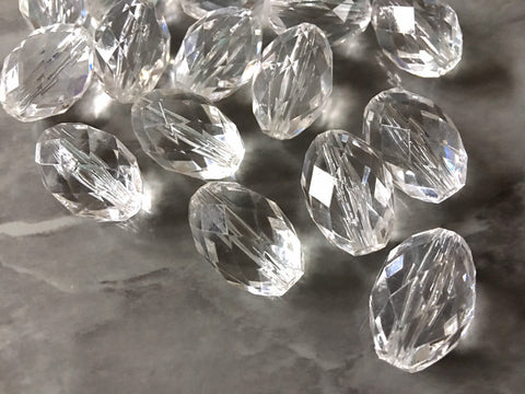 Faceted Clear Egg Beads Translucent, 23mm Beads, big acrylic beads, bracelet necklace earrings, jewelry making, acrylic bangle beads, resin