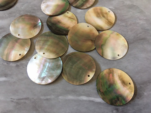 Abalone Shell Circle round blanks, earring bead jewelry making, 26mm jewelry, 1 Hole tortoise blanks colorful, sea shell beads earrings