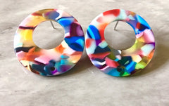 30mm RAINBOW acrylic post earring round blanks, stud circle earring, drop dangle earring making colorful jewelry blanks pride blanks