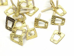 16mm Hammered Gold post earring square blanks, gold earring, gold stud earring, gold jewelry, gold dangle earring making trapezoid