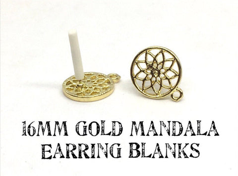 16mm Mandala Gold post earring circle blanks, gold earring, gold stud earring, gold jewelry, gold dangle earring making round