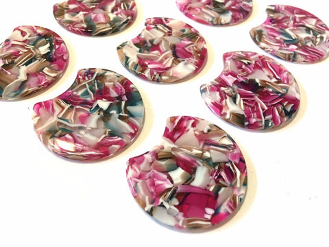 Pink Brown Green Resin Beads, circle cutout acrylic 36mm Earring Necklace pendant bead, one hole at top, silver jewelry acrylic DIY