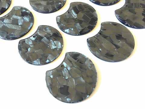Gray Mosaic Shell Resin Beads, cutout acrylic 36mm Earring Necklace pendant bead, one hole at top jewelry acrylic DIY steel metallic