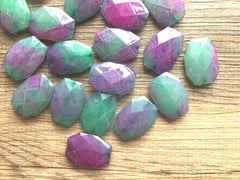 Watermelon Pink & Green Watercolor Large Beads - Turquoise and Royal Blue - Faceted Nugget Bead - FLAT RATE SHIPPING 34mm