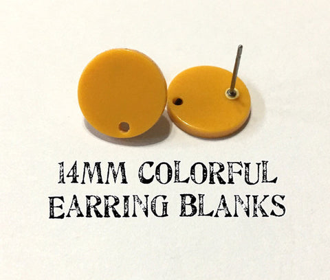 14mm MUSTARD post earring round blanks, yellow round earring, yellow stud earring, drop dangle earring making colorful jewelry blanks