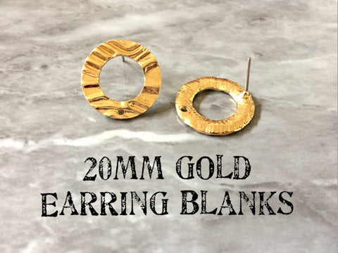 20mm gold wavy post earring circle blanks, gold drop earring, gold stud earring, gold jewelry, gold dangle DIY earring making round