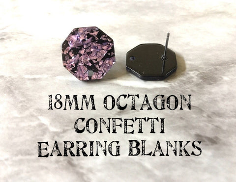 Purple confetti resin earring blanks, Earrings focal point silver hardware, diy earring wires statement boho geometric jewelry black