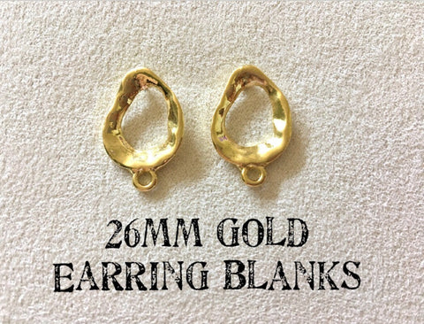 26mm gold irregular post earring oval blanks, gold drop earring, gold stud earring, gold jewelry, gold dangle DIY earring making