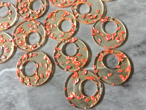 Resin coral Sprinkles Acrylic Blanks Cutout, Circle blanks, earring bead jewelry making, 34mm circle jewelry, 1 Hole circle pink