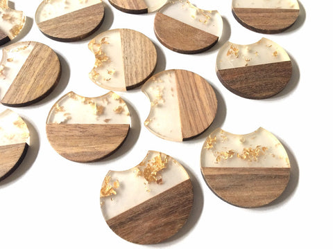 wood Grain + gold foil resin Beads, round cutout acrylic 37mm Earring Necklace pendant bead, one hole at top DIY wooden blanks brown