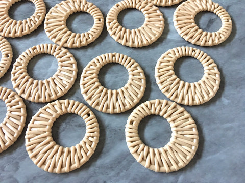 Ratton Acrylic Beads, round cutout acrylic 48mm Earring Necklace pendant bead, one hole at top DIY blanks tan brown rattan straw hay