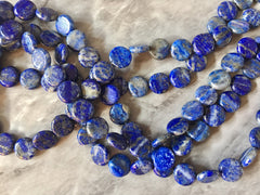 "12mm Natural Lapis Lazuli Beads Strands, Flat Round, blue and gold gemstone beads, 15"" strand WHOLESALE blue diy jewelry"