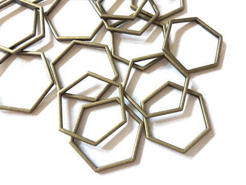 Bronze Gold Metal Pentagon, 25mm bracelet necklace earrings, jewelry making, geometric earrings, minimalist blanks, simple square jewelry