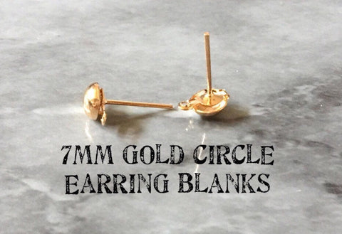 7mm Round Gold post earring circle blanks, gold round earring, gold stud earring, gold jewelry, gold dangle earring making hoops