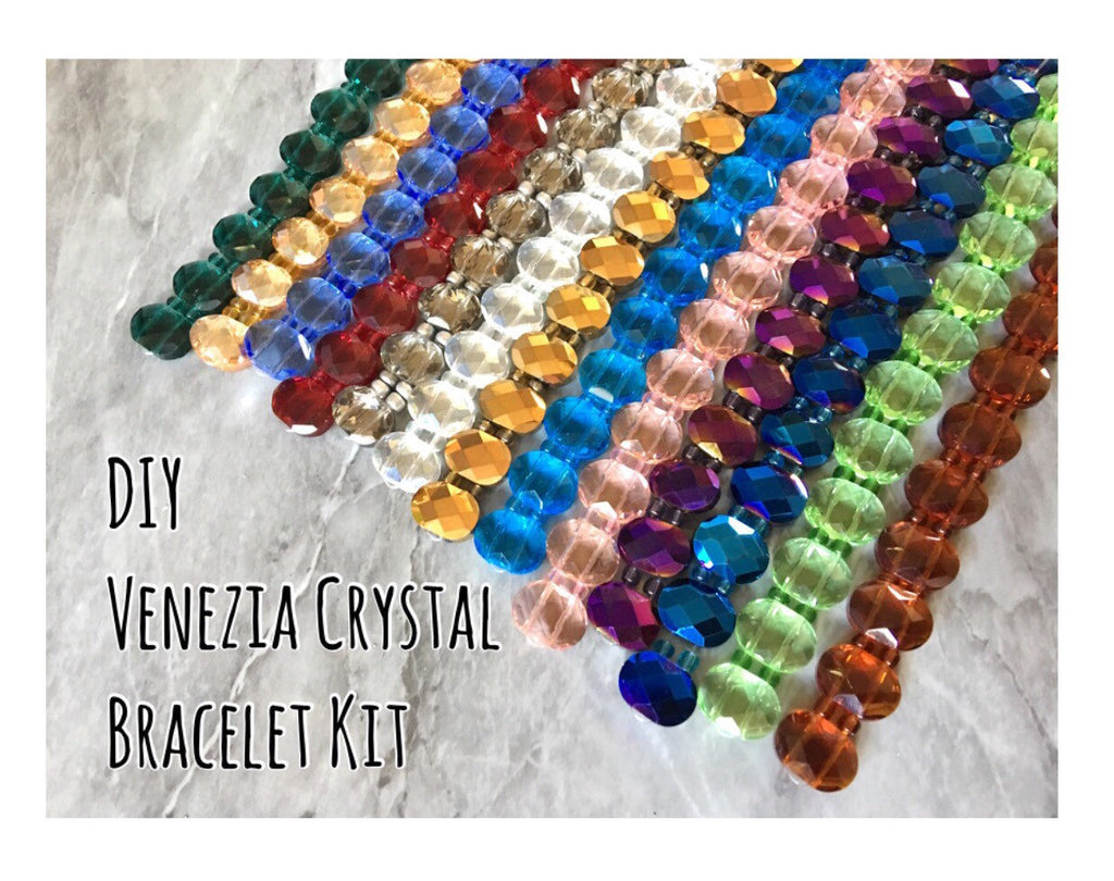DIY Stretch Bracelet Kit with Venezia Crystals in 13 colors, jewelry making kit, diy kit, diy jewelry genstone glass crystal bracelet