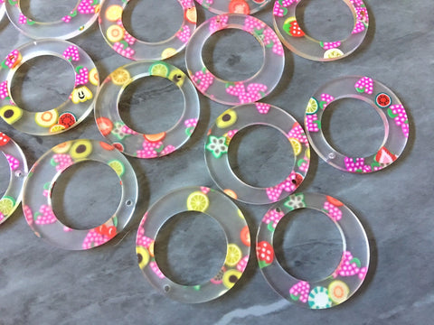 Rainbow Fruit Beads, circle cutout acrylic 36mm Earring Necklace pendant boho, one hole top colorful acrylic DIY jewelry round