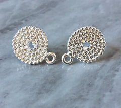 17mm SILVER woven post earring circle blanks, silver drop earring, silver stud earring, silver jewelry, silver dangle DIY earring makin
