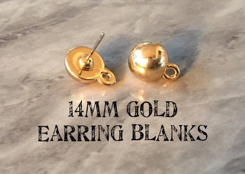14mm Shiny Gold post earring round blanks, gold circle earring, gold stud earring, gold jewelry, gold dangle earring making