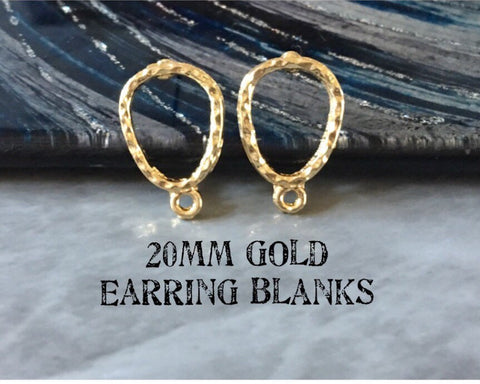 20mm gold hammered post earring oval blanks, gold earring, gold stud earring, gold jewelry, gold dangle earring making circle
