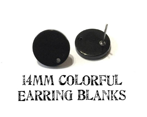 14mm black post earring round blanks, black round earring, black stud earring, drop dangle earring making colorful jewelry blanks