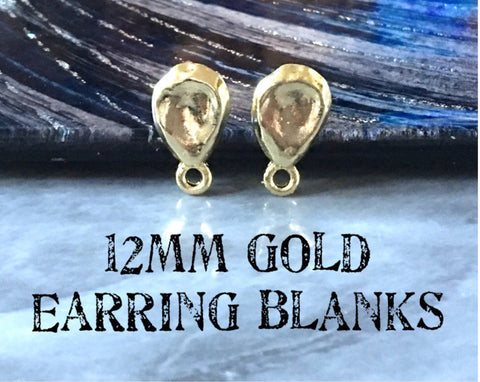 12mm gold hammered post earring teardrop blanks, gold earring, gold stud earring, gold jewelry, gold dangle earring making circle