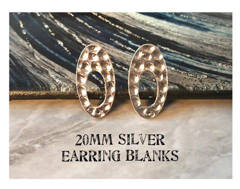 20mm silver hammered post earring oval blanks, silver earring, silver stud earring, silver jewelry, silver dangle earring making circle